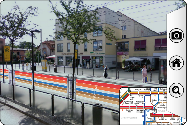 Mockup of the transparent display showing a streetcar station and showing information about the lines right on the tracks.