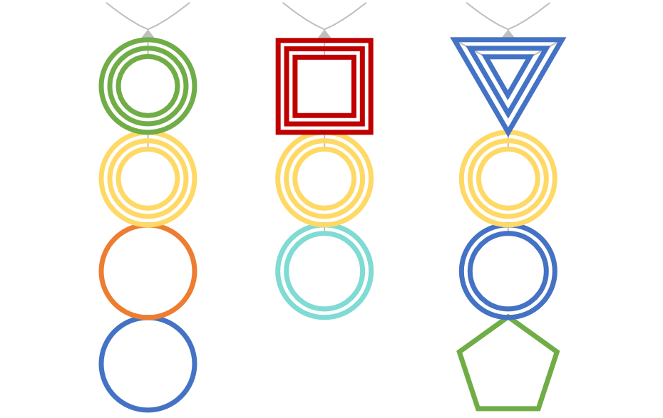 Three examples of how the necklaces could look like depending on the different languages.