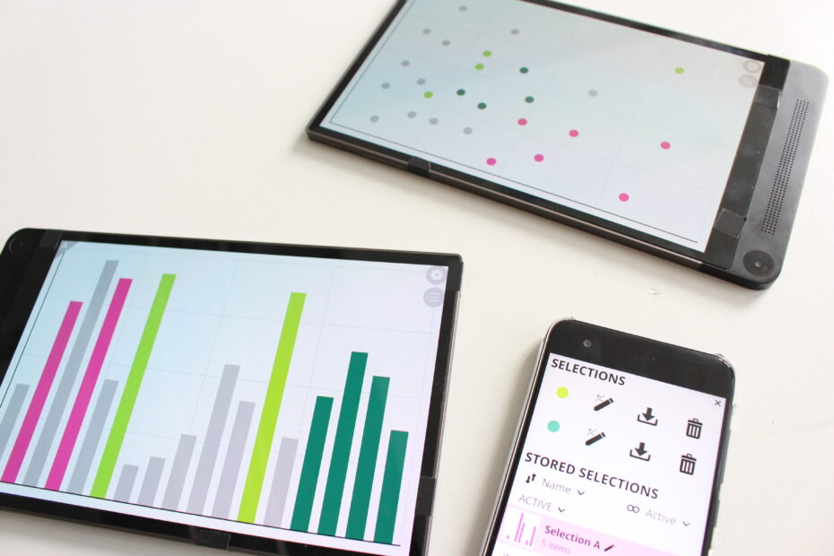 Three devices. Two with the visualizations and a smaller device with the list of selections.