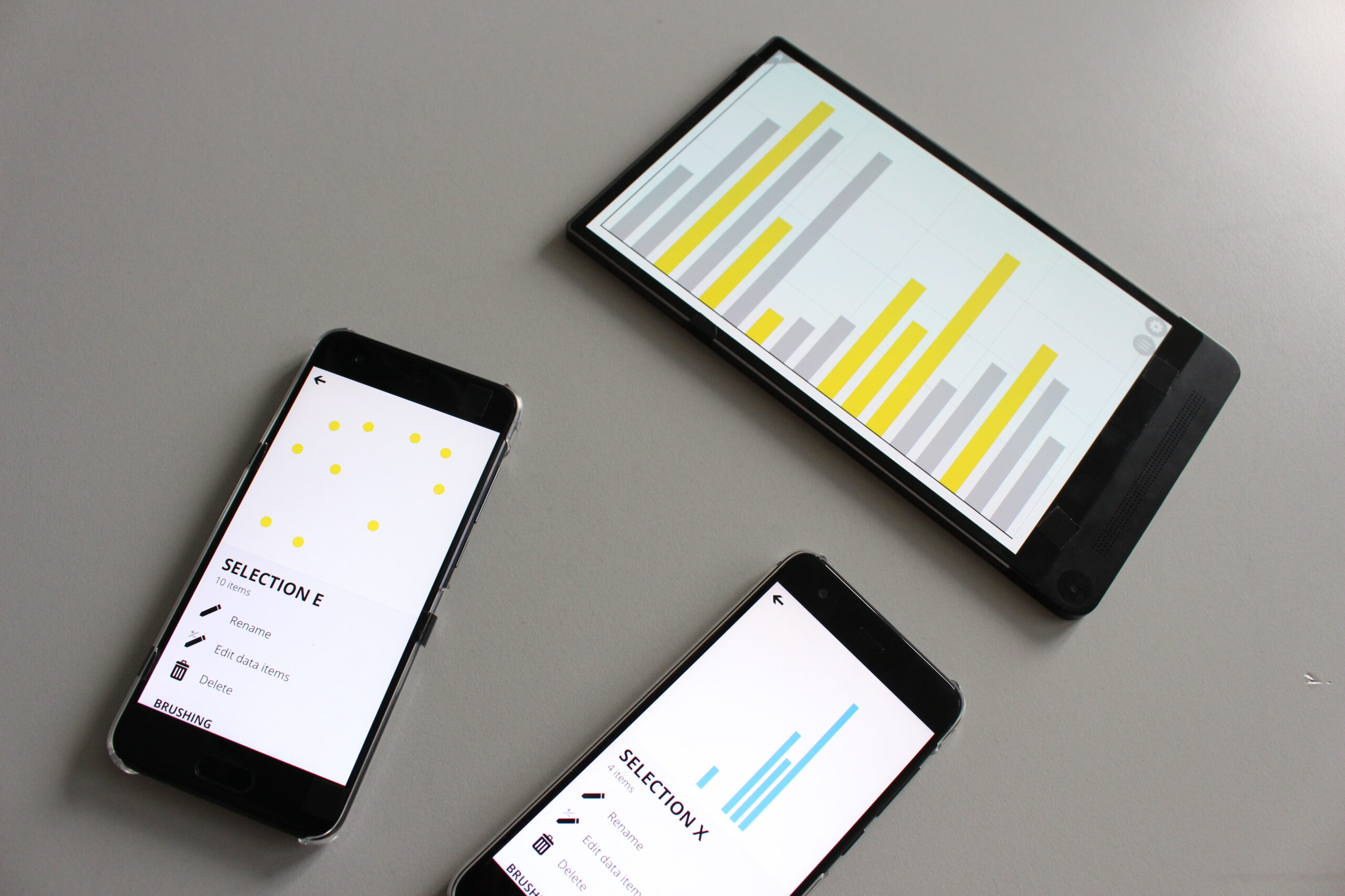 Three devices showing the merged selection in the visualization.